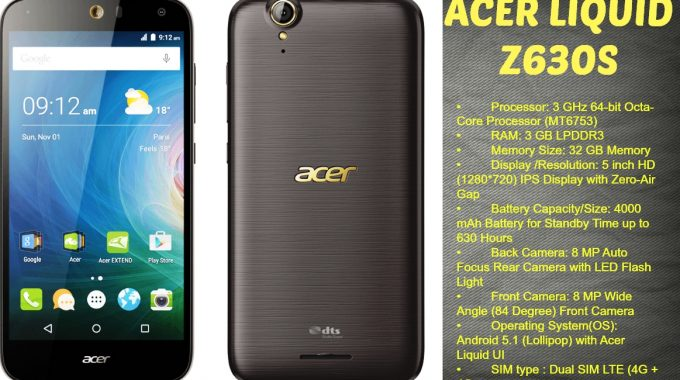 Acer Smartphones Liquid Z630s – features & Specifications