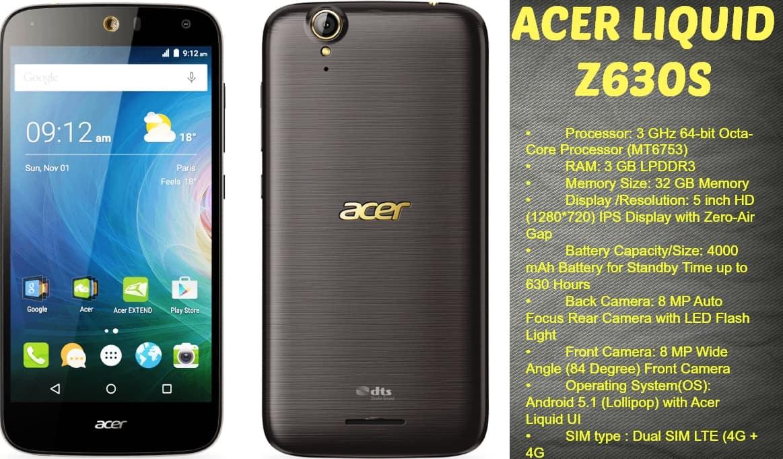 Acer Smartphones Liquid Z630s – features & Specifications