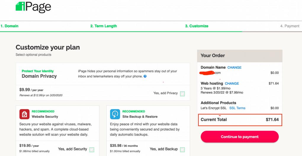 iPage hosting plan customisation